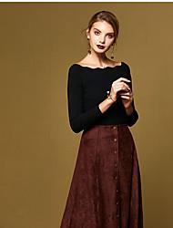 Mujer Regular Pullover Casual/Diario Simple,Un Color Negro Marrón Escote Barco Manga Larga Algodón Primavera Medio Microelástico