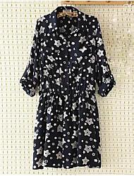 Mujer Corte Swing Vestido Noche Sexy,Floral Escote Redondo Sobre la rodilla Manga Larga Negro Algodón Otoño Tiro Alto Microelástico Medio