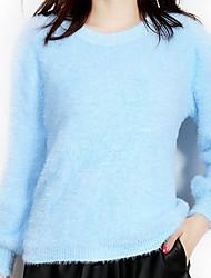 Damen Kurz Pullover-Lässig/Alltäglich Einfach Solide Blau Rosa Beige Lila Rundhalsausschnitt Langarm Baumwolle Herbst Mittel