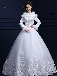 A-line Wedding Dress Floor-length Jewel Cotton / Lace / Tulle with Beading / Feather / Fur / Lace / Sequin