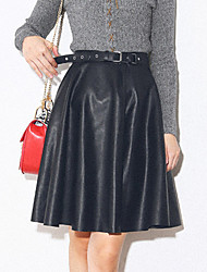 High waist skirt put on a large umbrella pu leather skirt pleated skirts wild autumn and winter long section of the A-line dress tutu