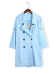 Women's Casual/Daily Simple Coat,Solid Long Sleeve White Cotton