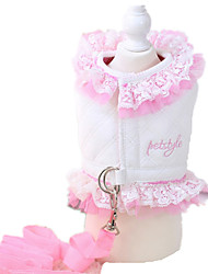 Dog Dress White Dog Clothes Winter / Spring/Fall Lace Cute / Casual/Daily / Keep Warm