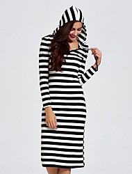 Women's Casual Simple Sheath Dress,Striped V Neck Midi / Neckline to hem measures 21.5 inch Long Sleeve Black Cotton Fall Mid Rise