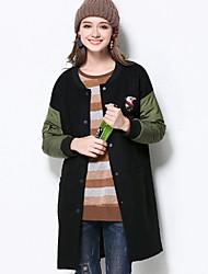 Damen Solide Retro Lässig/Alltäglich / Übergröße Jacke,Winter Rundhalsausschnitt Langarm Schwarz Mittel Polyester