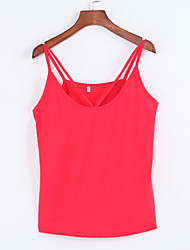Women's Going out Sexy / Street chic Summer Tanks,Solid Strap Sleeveless Red / White / Black Polyester Thin