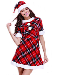 Cosplay Costumes Santa Suits Movie Cosplay Red Plaid Dress / Hats Christmas Female Polyester