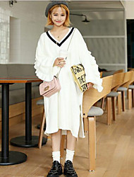 Women's Casual/Daily Simple Sweater Dress,Print V Neck Knee-length Long Sleeve White Cotton Fall / Winter Mid Rise Micro-elastic Medium