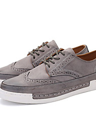 Men's Oxfords Fall Winter Comfort Microfibre Outdoor Casual Low Heel Lace-up Black Gray Brown