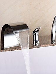 Unique Design Widespread Waterfall / Widespread / Handshower Included with  Ceramic Valve Single Handle Three Holes for  Chrome  Bathtub Faucet