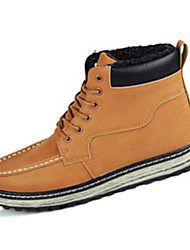 Men's Boots Fall Winter Platform Leatherette Office & Career Casual Flat Heel Platform Ruched Lace-up Black Tan Other