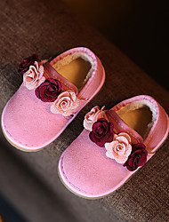 Girl's Loafers & Slip-Ons Spring Fall Winter Other Comfort First Walkers Leather Casual Flat Heel Flower Magic Tape Black Pink Red Other