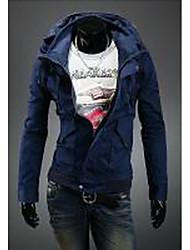 Masculino Jaqueta Informal / Casual estilo antigo / Simples Primavera / Outono,Sólido Azul / Preto / Laranja Algodão Colarinho Chinês-