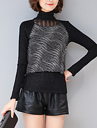 Damen Druck Einfach / Anspruchsvoll Lässig/Alltäglich T-shirt,Rollkragen Herbst / Winter Langarm Weiß / Schwarz Kunstseide / Polyester
