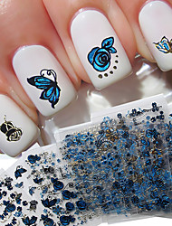 Mix 24pcs/pack Blue Butterfly Nail Sticker