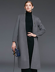 Женский На каждый день Однотонный Пальто V-образный вырез,Простое Зима Серый / Зеленый Длинный рукав,Шерсть