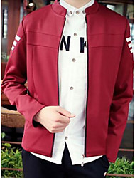 Men's Casual/Daily Vintage / Street chic Jackets,Color Block Standing Collar Long Sleeve Red / Yellow Cotton