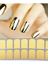 1sheet Gold Silver Black Smooth Nail Art Beauty Sticker Patch Foils Armour Adhesive Full Wraps DIY Manicure Nail Decorations