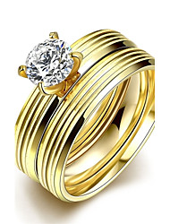 Ring Stainless Steel Zircon Fashion Golden Jewelry Wedding Party Daily Casual Sports 1pc