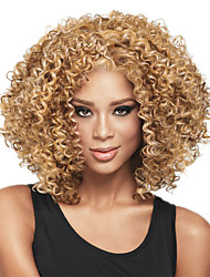 Capless Short Afro Kinky Bobo Synthetic Wigs for Women Light Golden Heat Resistant with Free Hair Net