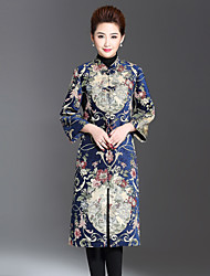 1898 Women's Plus Size / Casual/Daily Chinoiserie CoatJacquard Stand Long Sleeve Winter Blue / Red Polyester