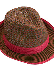 Women Summer Hollow Breathable Woven Folding  Color Stitching Straw Hat