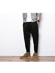 Hombre Tallas pequeñas Ajustado a la Bota Chinos Pantalones,A Rayas Casual/Diario Cosecha Borlas Tiro Medio Cremallera Rayón