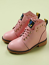 Girl's Boots Comfort Leather Casual Black Pink Red