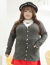Damen Standard Strickjacke-Übergröße Lässig/Alltäglich Einfach Solide Grau V-Ausschnitt Langarm Polyester Andere Herbst Winter Mittel