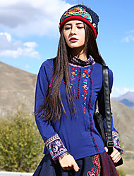 Our Story Women's Casual/Daily Boho Fall T-shirtEmbroidered Stand Long Sleeve Blue Polyester / Spandex