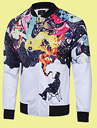 Men's Casual/Daily Simple Jackets,Print Stand Long Sleeve Fall Multi-color Polyester Medium
