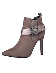 Women's Boots Winter Comfort Suede Dress Stiletto Heel Buckle Khaki