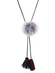 Latest Fashion Fake Fur Pu Leather Long Necklace for Women