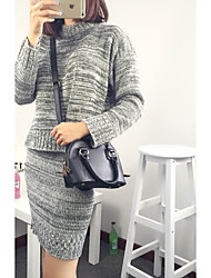 Women's Casual/Daily / Formal / Work Sexy / Simple / Sophisticated Fall Set Skirt Suits,Solid Round Neck Long Sleeve Red / Gray Polyester