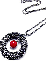 Women's Pendant Necklaces Ruby Gem Round Circular Unique Design Fashion Red Jewelry Wedding Party Daily 1pc