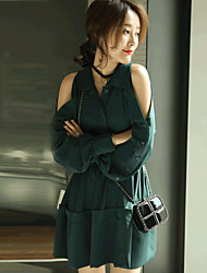 GLITTER   Women's Going out / Casual/Daily Vintage / Simple Loose DressSolid Off Shoulder Above Knee Long Sleeve Green Cotton / PolyesterFall /