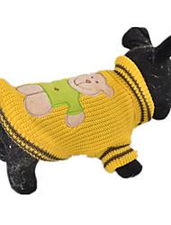 Dog Sweater Yellow / Green / Rose Dog Clothes Spring/Fall Cartoon Keep Warm