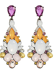 Fashion Beautiful Colorful Rhinestone Flower Statement Earrings