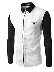 Men's Casual/Daily Simple Shirt,Color Block Square Neck Long Sleeve White / Black Cotton