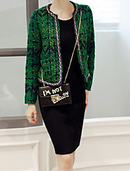 Women's Casual/Daily Simple Coat,Solid Round Neck Long Sleeve Spring Green Polyester Medium