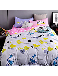 Animal Duvet Cover Sets 4 Piece Polyester cartoon Reactive Print Polyester Queen 1pc Duvet Cover / 2pcs Shams / 1pc Flat Sheet