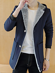 Men's Going out / Casual/Daily Simple Jackets,Solid Hooded Long Sleeve Winter Blue / Black Special Fur Types Thick