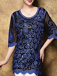 Damen Stickerei Street Schick Ausgehen T-shirt,Rundhalsausschnitt Herbst ½ Länge Ärmel Blau / Rot / Schwarz Polyester Mittel