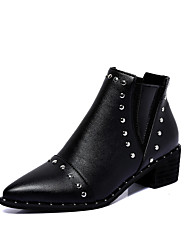 Women's Boots Spring Fall Winter Other Leather Outdoor Dress Casual Low Heel Rivet Black Silver Other