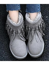 Korean version of sweet matte leather fringed boots female boots low tube flat shoes 2016 new thick winter