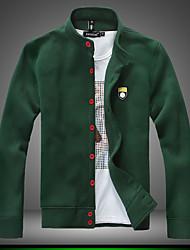 Veste Hommes,Couleur Pleine Sortie / Décontracté / Quotidien / Sportif simple Manches Longues Mao Gris / Vert Coton / Cuirs Particuliers