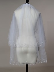 Wedding Veil Two-tier Blusher Veils Elbow Veils Fingertip Veils Beaded Edge Tulle