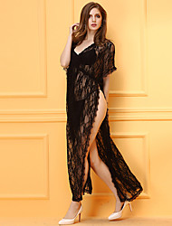 Women's Chemises & Gowns V Neck Nightwear Jacquard-Thin Lace / Polyester Black
