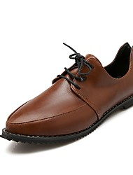 Women's Oxfords Spring / Summer / Fall / Winter Comfort Leatherette Office & Career / Dress / Casual Flat Heel Lace-upBlack / Brown /