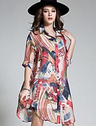 Для женщин На выход Пляж  Большие размеры Все сезоны Рубашка Квадратный вырез,Винтаж Простое Богемный РадужныйИскусственный шёлк Полиэстер